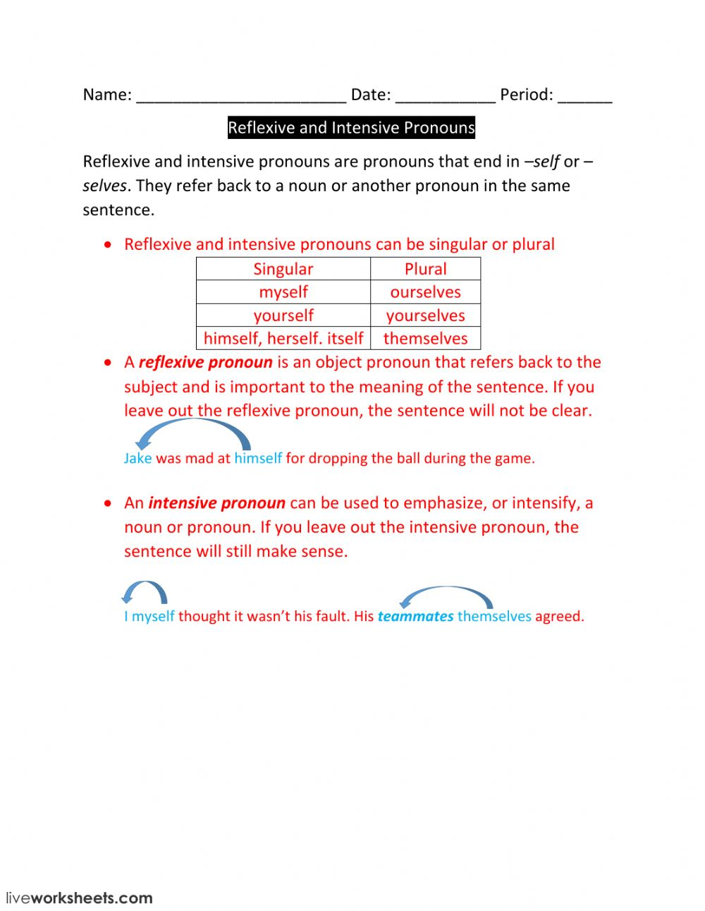worksheet Reflexive Pronoun Worksheets lesson 4 reflexive and intensive pronouns interactive worksheet