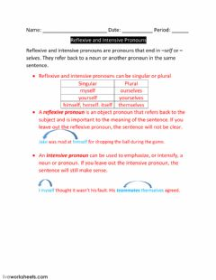 Lesson 4-Reflexive and Intensive Pronouns worksheet preview