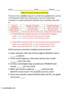 Interactive worksheet Lesson 5 - Shifts in Pronoun Number and Person