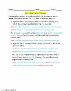 Interactive worksheet Lesson 6-Correcting Vague Pronouns