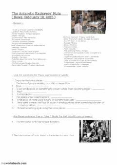 Interactive worksheet Antarctica Explorers Hut