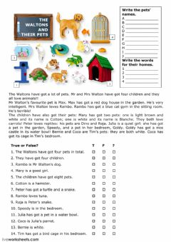 Interactive worksheet The Waltons and their pets