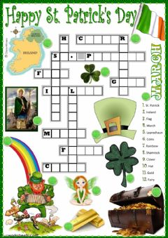 St. Patrick's vocabulary worksheet preview