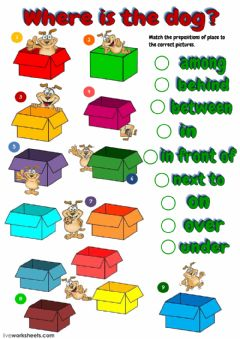 Interactive worksheet Where is the dog?