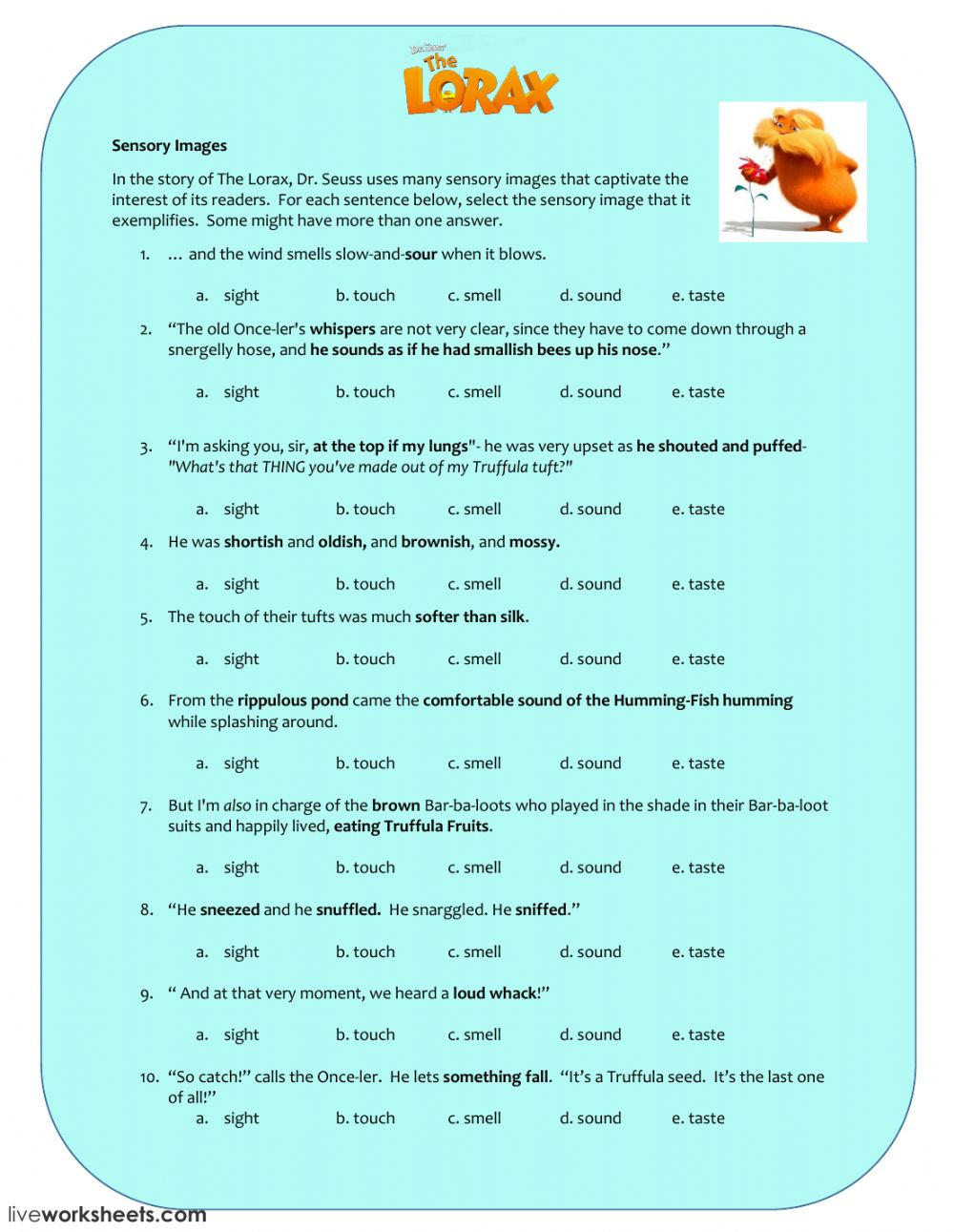 Fancy Knack The Lorax Activity Worksheet Free Esl Printable ...