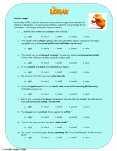 The Lorax: Sensory Images worksheet preview