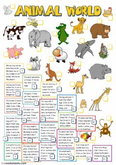 Animal world worksheet preview