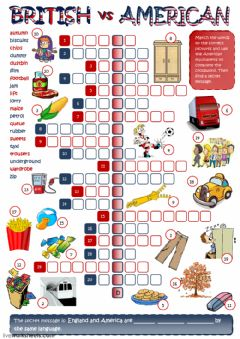Interactive worksheet British and American English