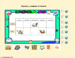 Interactive worksheet El horario escolar