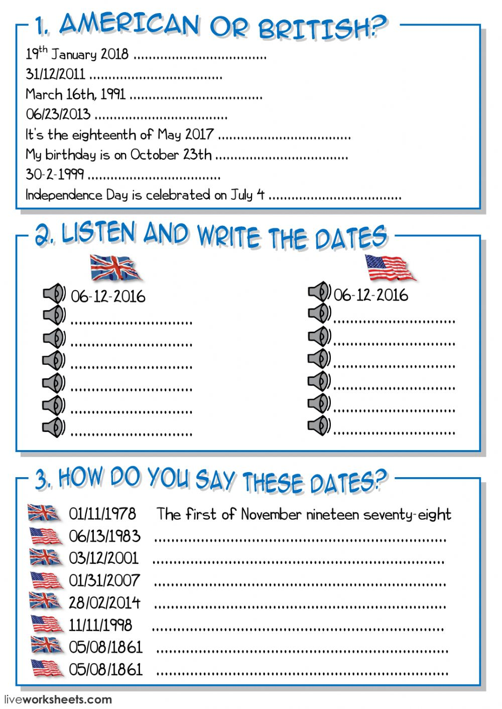 how to write and say dates in english