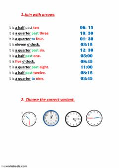 Interactive worksheet Telling Time