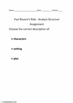 Interactive worksheet Paul Revere's Ride - Analyze Structure -2