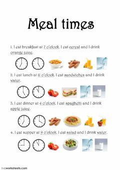 Ficha interactiva Meal times