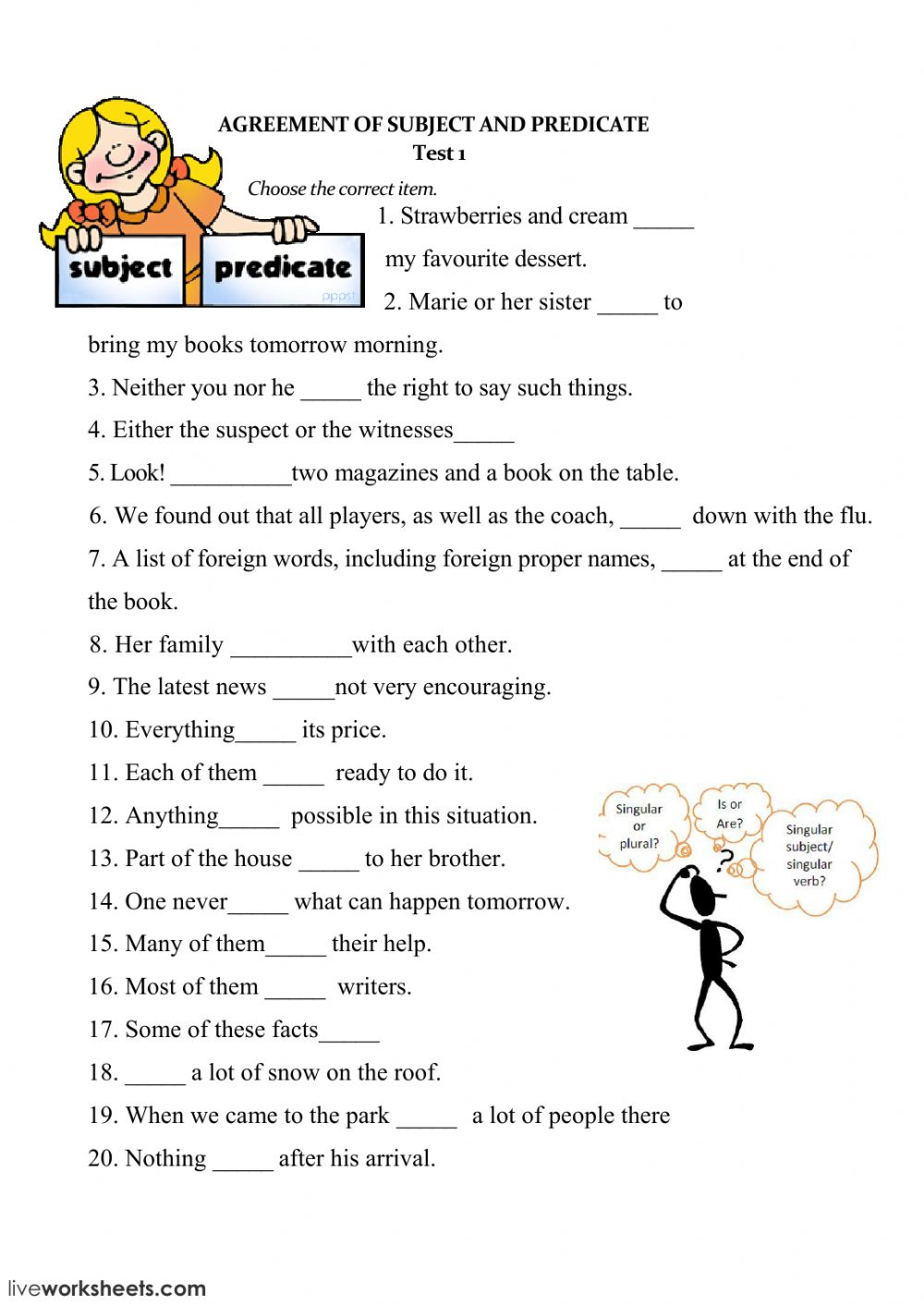 Subject And Verb Agreement Interactive Worksheet