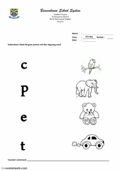 Interactive worksheet match the letter sound with correct pictures