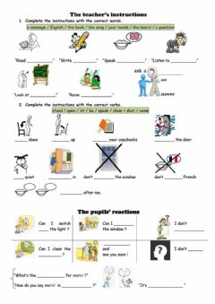 Interactive worksheet Classroom Language and Instructions