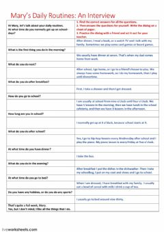 Interactive worksheet Mary's daily routine