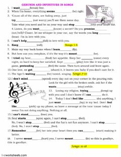 Gerund and Infinitive worksheet preview