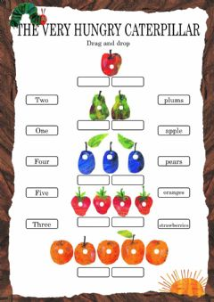 The Very Hungry Caterpillar - Drag and drop worksheet preview
