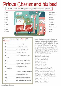 Interactive worksheet Prince Charles and his bed