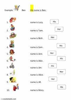 Interactive worksheet His or Her