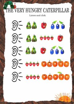 The Very Hungry Caterpillar - Listen and click worksheet preview