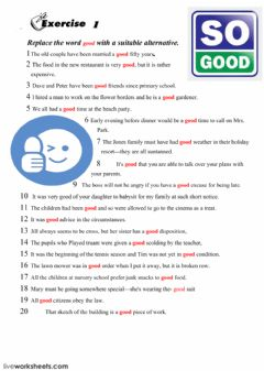 Interactive worksheet Synonyms for Good