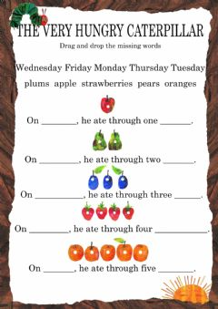 The Very Hungry Caterpillar - Reading worksheet preview