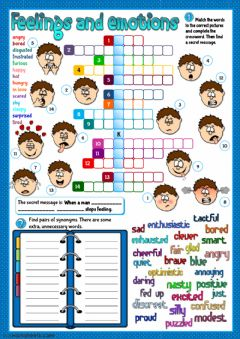 Feelings and emotions - crossword worksheet preview