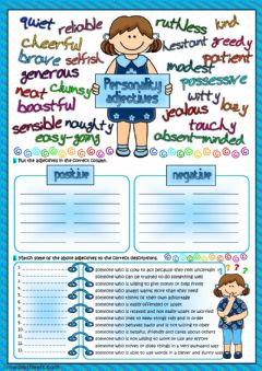 Personality adjectives worksheet preview