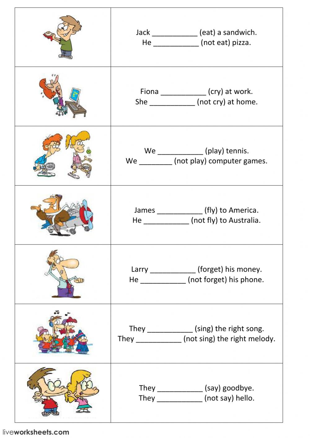 Present simple - positive and negative sentences - part 1 - Interactive worksheet
