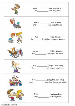 Interactive worksheet Present simple - positive and negative sentences - part 1