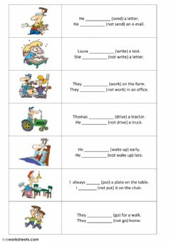 Interactive worksheet Present simple - positive and negative sentences - part 2