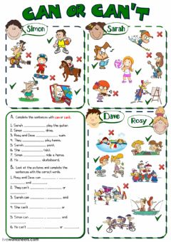 Can or Can't worksheet preview