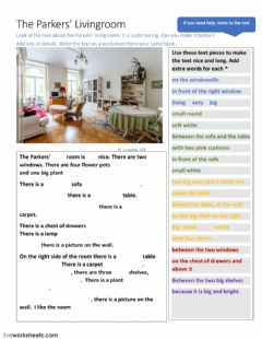 Interactive worksheet The Parkers' Livingroom