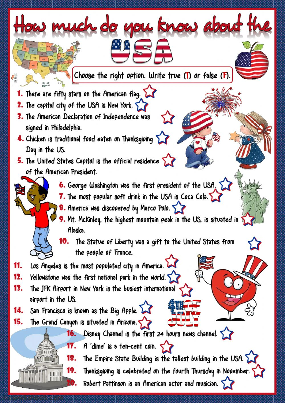 How Much Do You Know About The Usa Interactive Worksheet