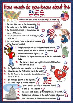 Interactive worksheet How much do you know about the USA?