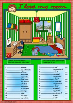 Interactive worksheet I love my room - there is - there are