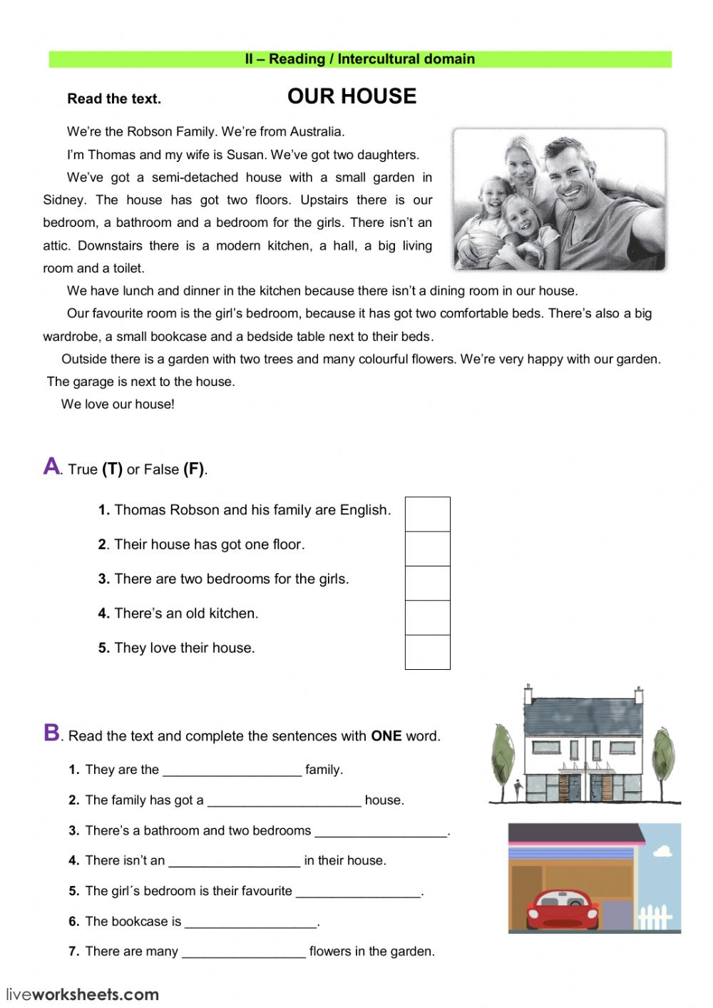 - Reading Test: The House Worksheet