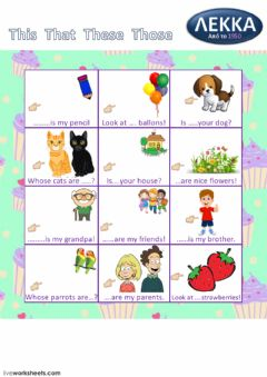 Interactive worksheet Demonstratives