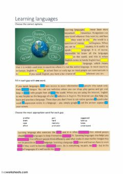 learning languages worksheet preview