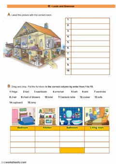 Interactive worksheet Lexis and grammar - the house