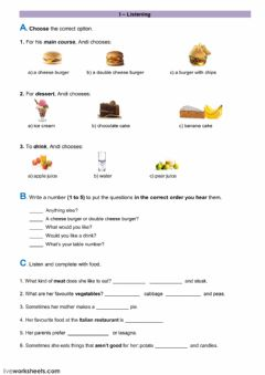 Interactive worksheet listening - food