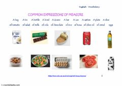 Interactive worksheet Common Expressions of Measure - drag and drop