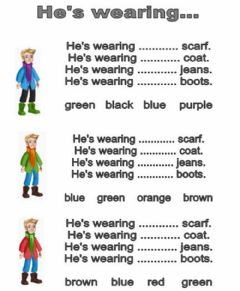 Interactive worksheet He's wearing...
