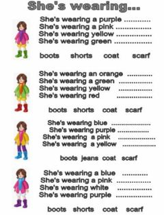 Interactive worksheet She's wearing...
