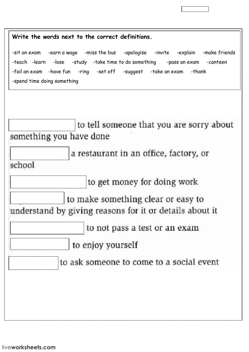 vocabulary - Free time - Interactive worksheet