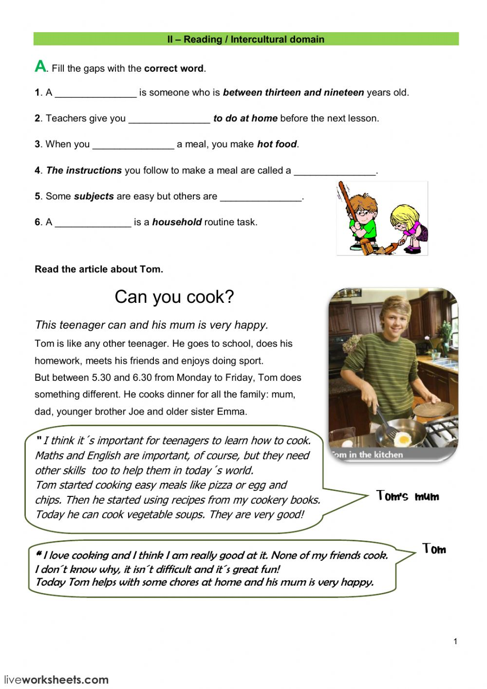 - Reading Test - Interactive Worksheet