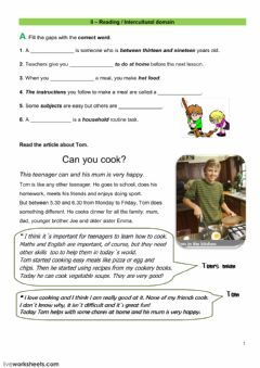 Reading test worksheet preview