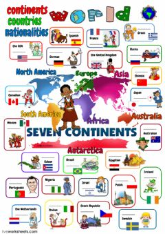 Interactive worksheet World - continents, countries, nationalities